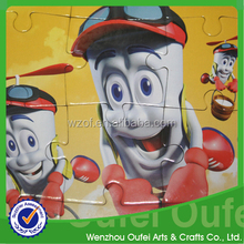 2015 fashion cartoon design game paper cardboard jigsaw puzzles for kids