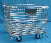 Warehouse Storage Steel Wire Mesh Roll Cage with Wheels