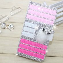 Fashion PU Leather Full Cover Crystal Bling Diamond Phone Case for HTC Desire 626