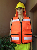 cotton orange safety vest with big pockets fishing safety vest