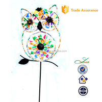 Metal outdoor garden stake owl windmill