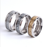 Chinese 2-color dragon inlaid 316L stainless steel men's ring