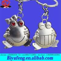 Korea Creative cartoon metal lovers couple big mouth frog keychain /key chain/ ring