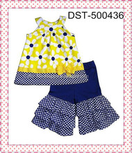 Wholesale Kids Party Wear Outfit Toddler Easter Cotton Outfit Girls 2 Pcs Clothing Set Chevron Baby Outfit Kids Polka Dots Short