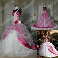 Imagen real HY072 espagueti Appliques la correa seleccionada tafetán tul vestidos de novia de color rosa caliente