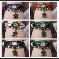 Fashion Women Leather Wrist Watch Charm Bracelet Retro Vintage Rose Pendant Weave Wrap Quartz 7 Colors