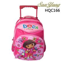 Russian cartoon dora school bag kids nylon trolley school bag with wheels