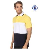 Striped men polo block patches 3 body colors polo shirt