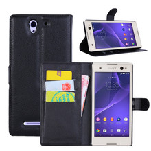 PU Leather flip wallet case cover for Sony Xperia C3 D2533 / C3 Dual D2502