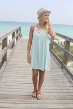 New Stylish Summer Ladies Beach Dress Wholesale, Saltwater & Clear Skies Cream Woven Straps Caged Light Blue Dress