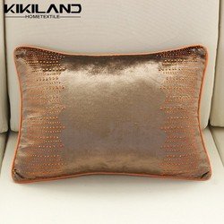 2015 new fashion brown pillow cases silk velvet pillow cases diamond iron