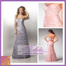 Latest Design Pink and Gray Ruched Evening Dress Hand Made Ruffle Mermaid Long Sexy Women Evening Gown