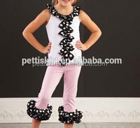 Summer Ruffle Outfit Kids Western Smocked Clothing Set