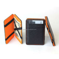 Cheap PU leather magic flip wallet with colorful combination
