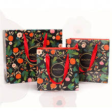 Delicated luxury handmake craft shopping bag Christmas gift package OEM paper bag with handle gift bag