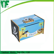 Safety kids pirate wooden storage toy box