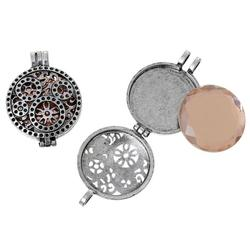 """Charm Pendants Round Antique Silver Light Brown With Glass Cabochons (Fits 30.0mm(1 1/8"""") Dia.) Hollow Flower Pattern"""