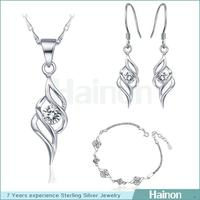 OEM customized design aaa cz stone beautiful style copper jewelry sets