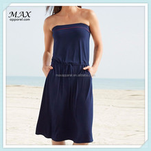 OEM Ladies Navy Casual Bandeau Skater Dress Wholesale China For Summer