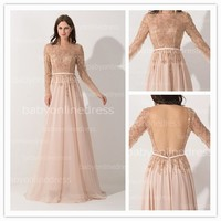 Real Sample Pictures Online Sale High Qualilty Design Your Own Long Sleeve Chiffon Low Open Back Beaded Evening Gown Prom Dress