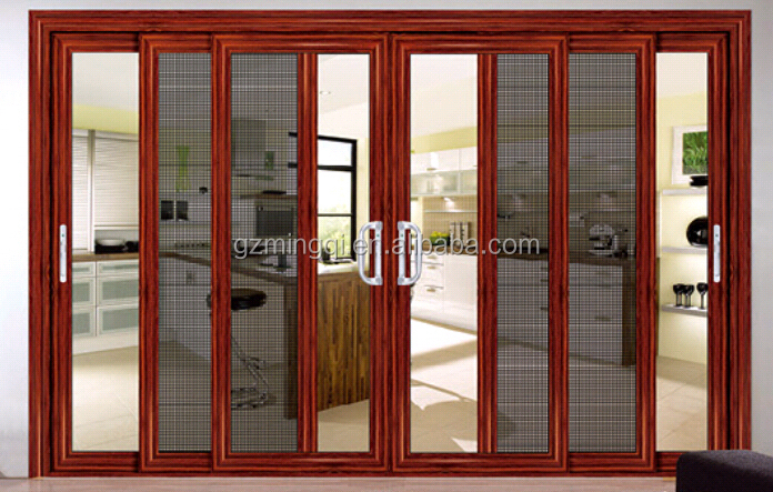 Wooden color frame aluminium sliding doors aluminum door for Sliding door manufacturers