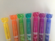 Wholesale shining highlighter gel pen with bear shaped cap promotion cusomized CH-6392