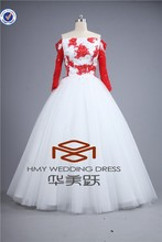 Real Picture HMY-E0017 Exqusite Red&White Off Shoulder Beaded Illusion Long Sleeve Ball Gown Wedding Dress