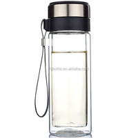 2015 Stylish 280ml Tea Infuser Glass filter drinking water bottles