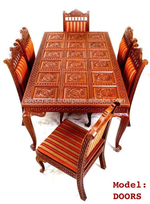 Indian Teak Wood Hand Carved Dining Room Set Restaurant Furniture Dini