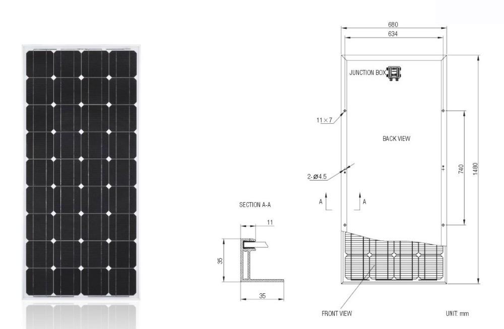 150W Solar Panel with TUV IEC MCS CEC INMETRO IDCOL SONCAP Certificates, [EU Antidumping Duty-Free]