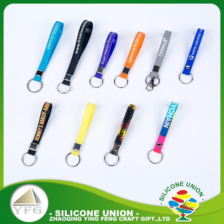 Sécurisé longes logo personnalisé silicone promotionnel porte-clés