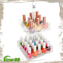Rotating Clear Acrylic 2 Tier Nail Polish Rack Cosmetic Organizer Display