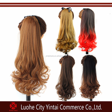 Ombre synthetic drawstring ponytail,kanekalon ponytail syntehtic hair extension