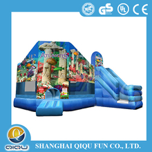 EN14960 UL SAA butterfly flower inflatable detachable roller shutters jumping house combo with slide for kids