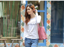 online shopping india tshirt high quality wholesale slim o-neck long sleeve cotton white print women's T-shirt for cheap price