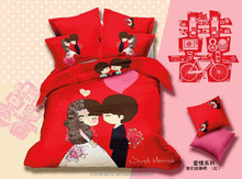 4PCS/Set New High Quality Cartoon Wedding Bedding Set With Sheet Cover Pillow Cases Quilt Cover Bedsheet Style