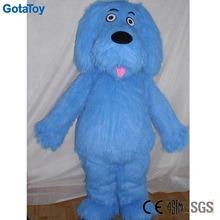 Long plush blue dog mascot costume