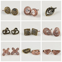 Wonderful Charming Hot Sale Different Special Designs Unique Zircon Stud Earrings for Teens