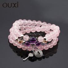 OUXI 2015 fashion wholesale pink natural stone bracelet T10010