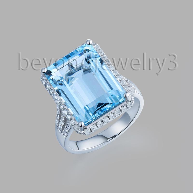 natural blue topaz engagement rings for women 18k white