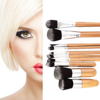 10pcs Bamboo Handle Synthetic Hair Makeup Brush Set Cosmetic Brushes Tool