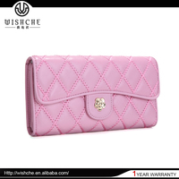 Wishche China Wholesale Genuine Leather European Wallet Pink Top 10 Wallet Brands Purse Le Boy Wallet China Supplier W8137