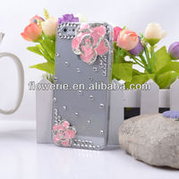 FL2664 Guangzhou hot selling Luxury Lovely Flower Bling Diamond Crystal Case Cover for iphone 5