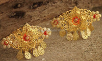 Vintage Gold Chinese Traditional Style Inlay Pearl Bridal Hair Comb Tiaras Wedding Hair Accessories