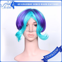 High quality synthetic cosplay wig, mixed colors world cup wig, on sale japanese fiber lacefront wig