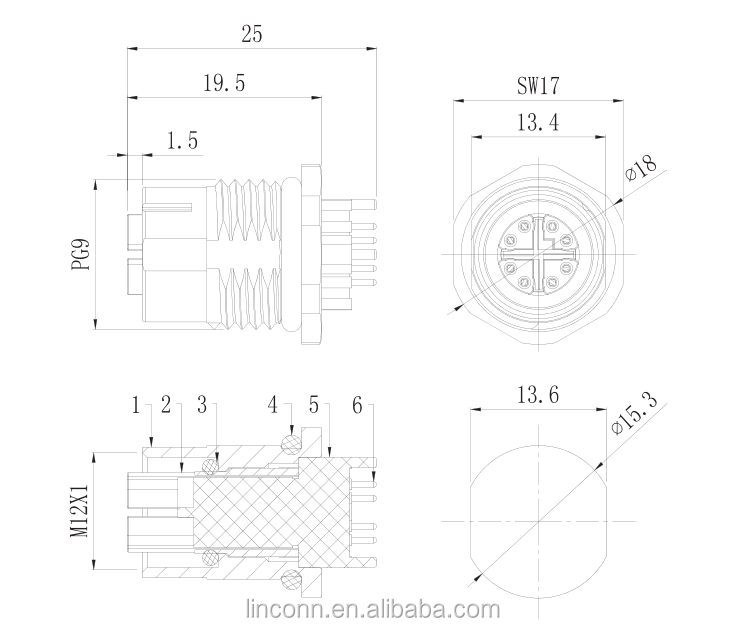 m12 shield connector 8pin m12 x