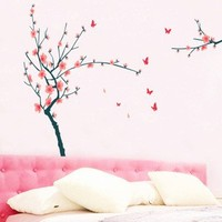 100pcs New Hot butterflies flying plum tree decoration stickers living room sofa TV backdrop stickers
