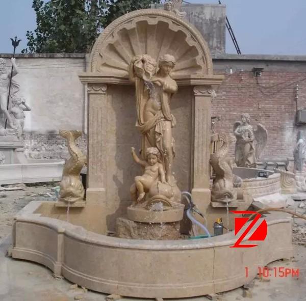 dekorative landschaft steinmauer Pool Springbrunnen und ...