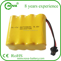 nicd aa 700mah 9.6v rechargeable ni-cd aa battery pack