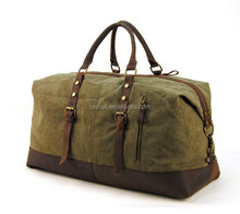 Vintage Genuine Leather Retro Canvas Duffle Gym Luggage Weekend Travel Bag